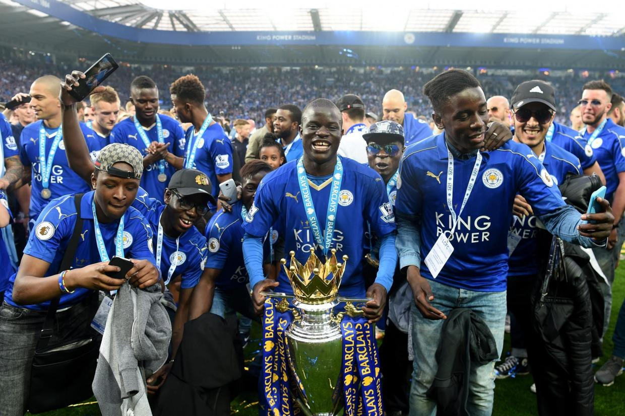 Champion | N'Golo Kante (centre) won the title with Leicester before joining Chelsea Getty Images