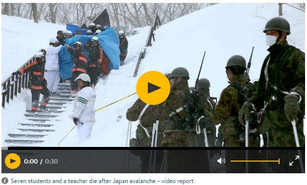 Japan avalanche kills seven students and teacher